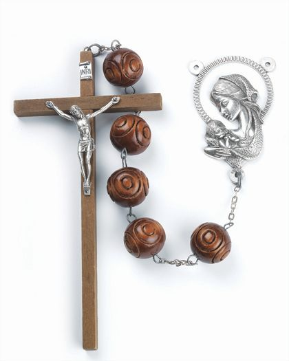 67'' Carved Wood Wall Rosary