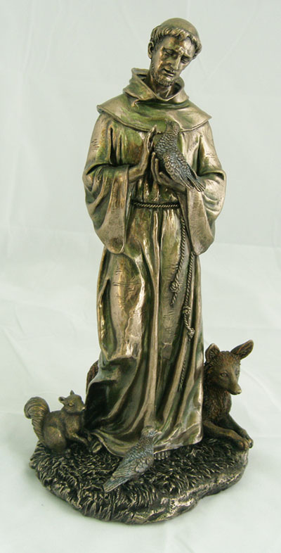 12'' St. Francis with Animals - Bronze
