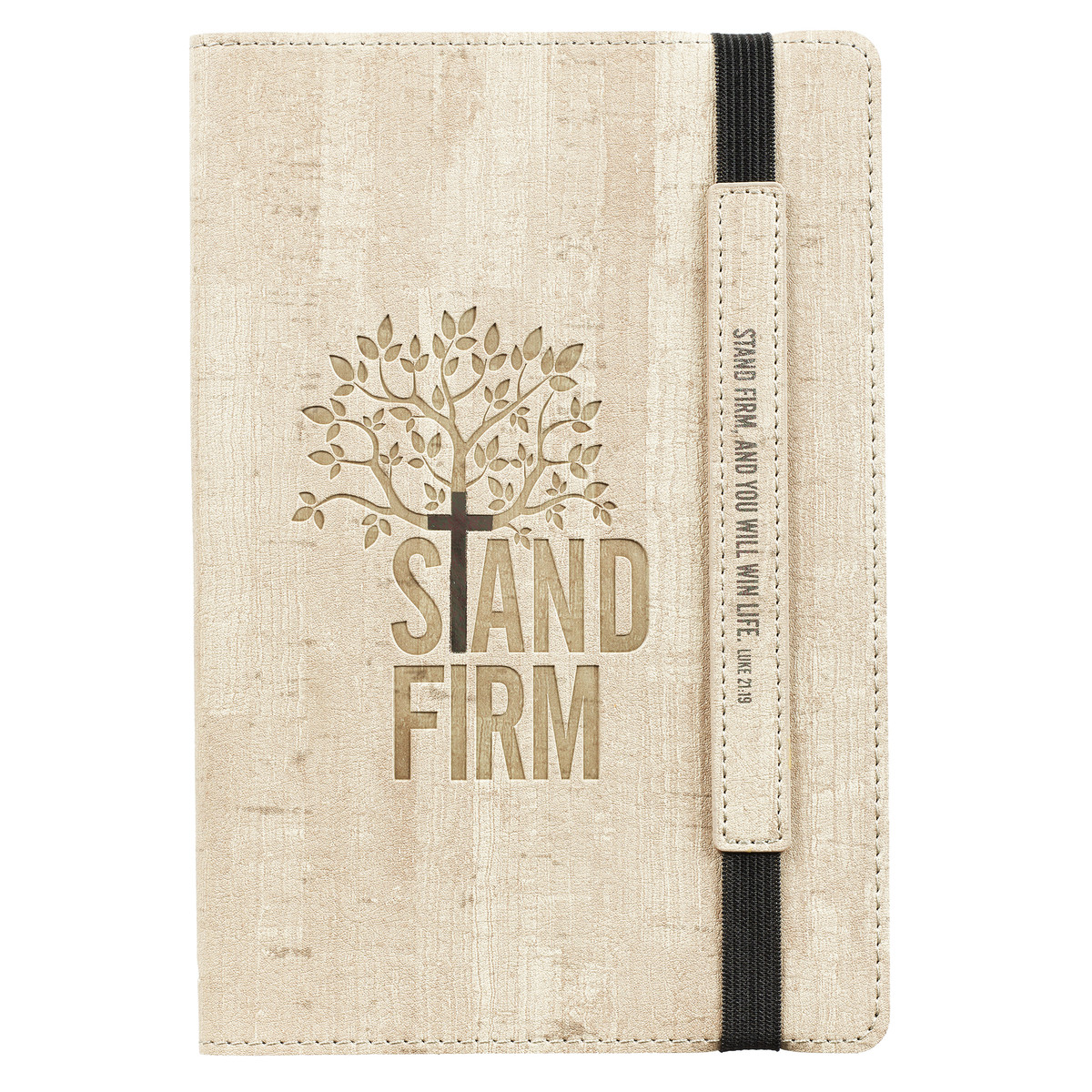 Tan Stand Firm Journal with Elastic Closure