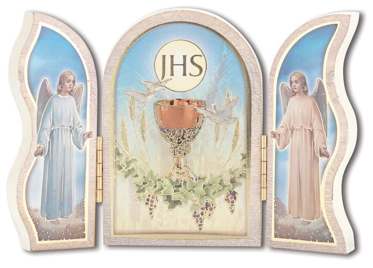 5'' First Communion White Wood Triptych