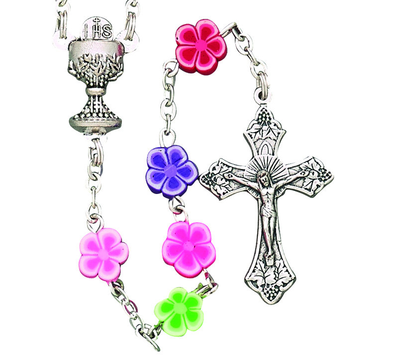 8mm Flower Bead First Communion Rosary