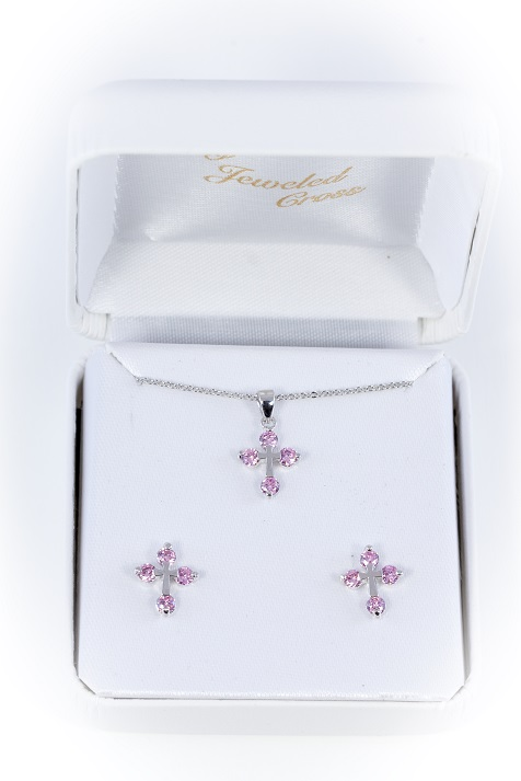 Pink Pendant and Earring Set
