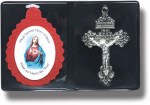 2'' Sacred Heart Red Badge with Pardon Crucifix