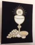 Black First Communion Photo Album with Chalice and Heart