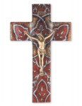 10'' Burnt Orange Glass Crucifix