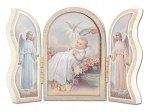 5'' Baptism White Wood Triptych
