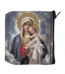 Praying Mother & Child Tapestry Rosary Case